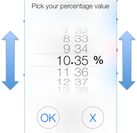 new percentage scrolling picker